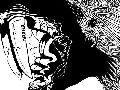 A Snippet teeth knife dog shepherd german illustration