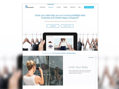 Visual Design for marketing site of visualization product ui ux photography