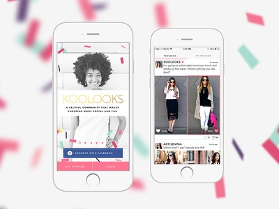 Fashion application and lots of confetti ui ux mobile application confetti pink fashion gold