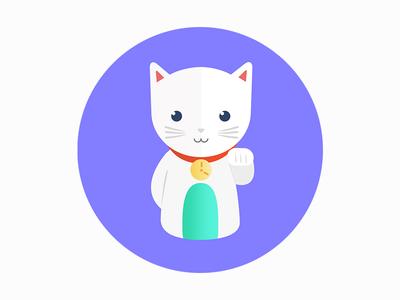 Fortune Cat/Maneki-neko cute cat kitten animals branding timetracking illustration