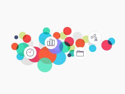 TimeKat Time Tracking Marketing Graphic iconography project management timetracking illustration