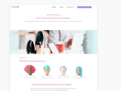 TimeKat Marketing Site productivity green pink ux ui