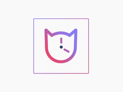 TimeKat Mark logo mark purple pink gradient cat
