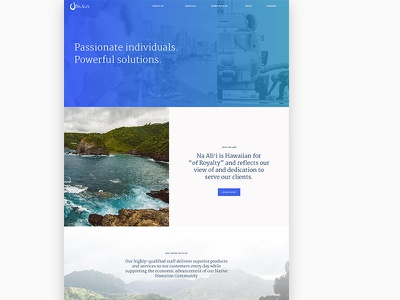 Marketing Site for Government Contractor government imagery hawaii gradient blue marketing