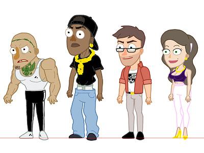 Grand Theft Auto 5 Squad Character Designs/Rigs adobe animate rigs design character animation animation 2d animation vector illustration character design character auto theft grandma gta grand theft auto