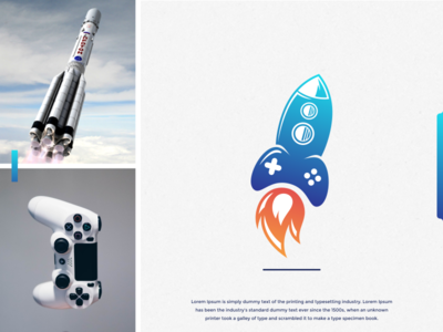rocket game logo design