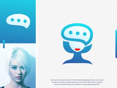 ladychat logo design women blue messages message simple lady chat sketch idea art branding brand identity brandidentity inspiration identity brand inspirations awesome design logo