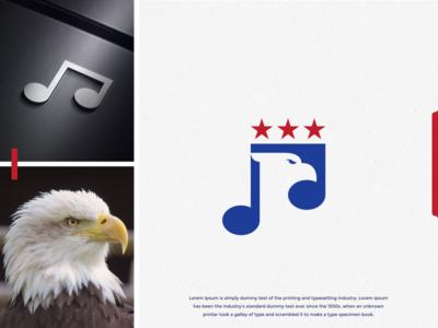 EAGLE STUDIO AMERICAN MUSIC logo design america star falcons falcon hawk eagle music note designs art branding forsale brandidentity inspiration identity brand inspirations awesome design logo