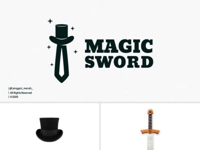 Magic Sword logo Design Inspirations dual meaning hidden meaning dualmeaning hats swords sword artwork magic hat art branding brand identity brandidentity inspiration identity brand inspirations awesome design logo