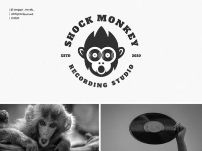 shock monkey logo design music studio recording recorder records record shock monkey negative space dual meaning idea branding brand identity inspiration identity brand inspirations awesome design logo