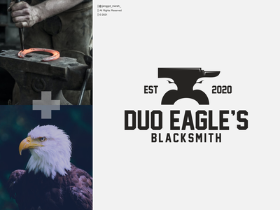 DUO EAGLE'S LOGO DESIGN duoble meaning negative space jenggot merah falcon bird dribbble iron craftsman workshop hammer blacksmith eagle brand identity inspirations awesome design logo