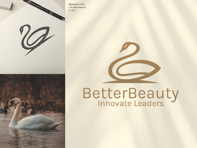 swan logo design lineart salon beauty swan symbol business bird luxury illustration wing graphic vector company gold icon design logo awesome crown jenggot merah