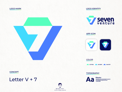 seven venture logo design jenggot merah logo design geometric fintech startup logo blue color negative space icon minimal branding industry color technology tech venture 7 seven brand identity inspirations awesome