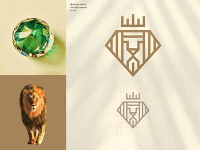 diamond lion logo design royal elegant luxury vector icon face head diamonds animal brand identity combinations dual meaning line art inspirations awesome diamond lion king design logo jenggot merah