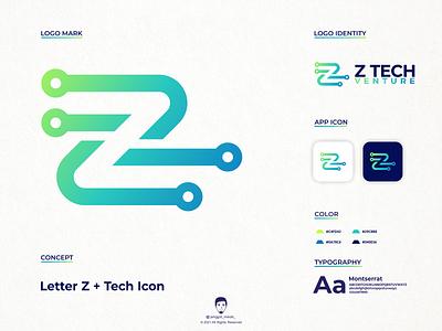 Z tech logo design vector symbol business letter z z awesome inspirations brand identity tech technology color industry branding minimal icon negative space blue color startup logo logo design jenggot merah