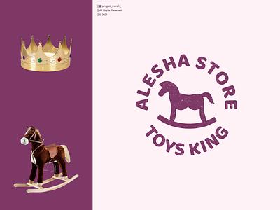 toys king logo design illustration symbol cute toy cartoon knight silhouette brand game kids shop kid animal horse vector logo design jenggot merah crown king toys