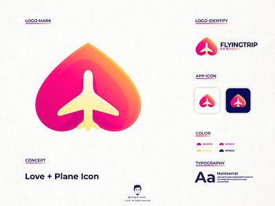 love plane logo design jenggot merah airplane flight tourism holiday trip fly flying heart love plane vector art brand identity inspirations awesome design logo