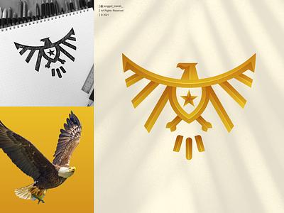 eagle line art logo design falcon qatar kuwait usa gold line art for sale forsale art inspiration identity brand eagle mascot jenggot merah eagles eagle inspirations awesome design logo