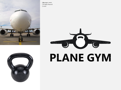 plane gym logo design dual meaning negative space fitness healty flying jenggot merah forsale art inspirations awesome design logo travel airplane icon sign vector symbol gym plane