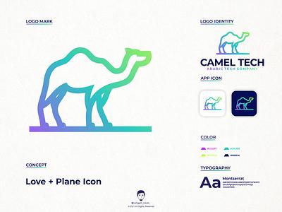 camel tech logo design line art dribbble pinterst gradients gradient camel awesome inspirations brand identity venture tech technology color industry branding negative space startup logo fintech logo design jenggot merah
