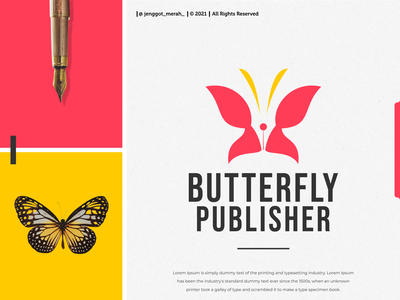 Butterfly Publisher Logo Design negative space combination dual meaning jenggot merah line art dribbble behance pinterest inspirations awesome design writer butterfly publisher pen logo