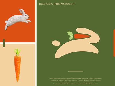 Rabbit Carrot Logo Design negative space jenggot merah bunny template orange farm cute nature vegetable graphic food symbol logo vector illustration design rabbit carrot icon dual meaning
