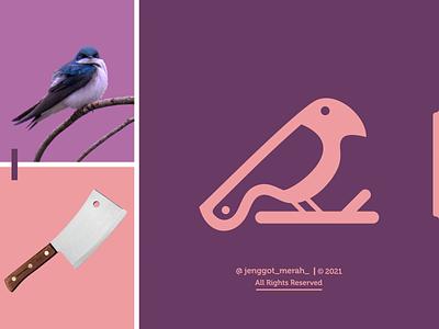 Bird Knife Logo Design birdnest combinations jenggot merah behance pinterest dribbble dual meaning negative space knife bird vector illustration inspirations awesome design logo
