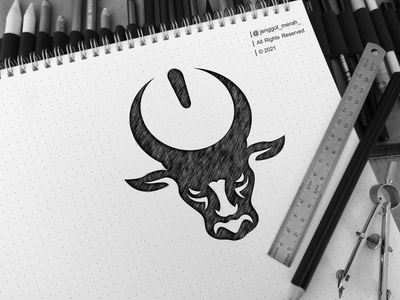 Bull Electric Logo Sketch art buffalo strong power head cow negative space jenggot merah logo combination dual meaning sketch power button electric bull illustration branding inspirations awesome design logo