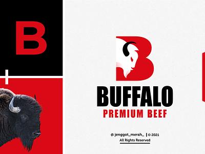Buffalo Logo Design aggresive beast strong gaming angry mascot power symbol head face beef letter b jenggot merah negative space bull buffalo bison design logo