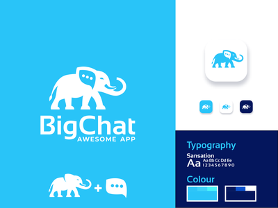 Big Chat Logo Design application combinations combination dual meaning negative space elephants icon bubble chatting chat app chat elephant inspiration inspirations awesome design logo