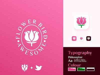 Flower bird Logo Design modern illustration colorful nature negative space flower combination dual meaning minimal vector rose logo symbol mark logotype identity design branding animal bird