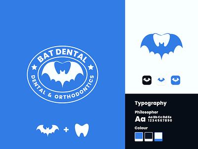 Bat Dental Logo Design combination graphic design dual meaning negative space animal bat dental clinic dental healthy dental care company logo branding dental illustration inspiration identity inspirations awesome design logo