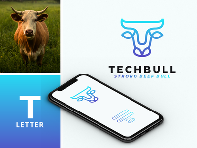 T and Bull Line Art logo idea. bison bulls negative space combinations dual meaning line art apparel company technology t tech bull graphic design branding illustration inspiration inspirations awesome design logo