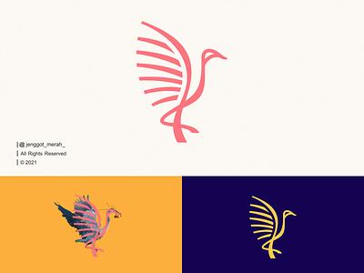 Bird Line Art logo idea swan pelican stork flamingo heron crane icon branding monoline nest illustration symbol mark wings animal lineart line art bird design logo