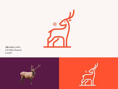 Deer Line Art Logo Design! gazelle character wild vector illustration horn design awesome inspirations identity cute minimal monoline deers deer animal symbol mark lineart line art
