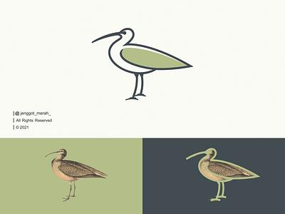 Curlew Bird Line Art Logo brand identity line art lineart monogram symbol wings monoline minimal animal bird curlew branding ui illustration inspiration inspirations awesome design logo