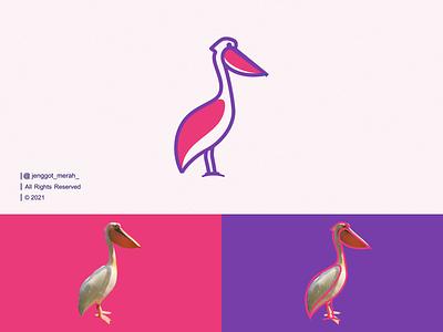 Pelican Bird Line Art Logo lineart line art vector branding symbol line geometric animal modern icon emblem pelican bird wing ocean brand identity inspirations awesome design logo