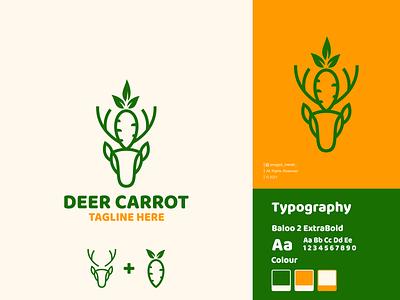 Deer Carrot Logo Design minimal fruit carrot symbol antelope for sale horn stag animal brand negative space line art lineart mark icon vector brand identity inspirations awesome logo design