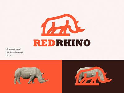 RedRhino Logo Design art icons horn simple africa minimal lineart line art animal rhino vector branding illustration inspiration brand identity inspirations awesome design logo