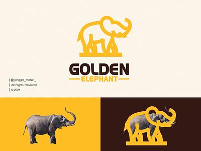 Golden Elephant Logo Design. gold mammoth symbol illustration marks icon mark safari jungle africa branding brand line art simple vector animal elephant awesome design logo