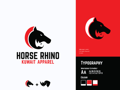 Horse Rhino Logo Design. illustration minimal simple double meaning dual meaning icon mustang rhino modern animal mascot pets vetor logotype mark branding pattern horse negative space logo design