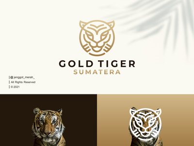 Gold Tiger Line Art logo Idea gold lions branding tiger forest wild lion symbol vector icon luxury abstract line art illustration identity brand inspirations awesome design logo