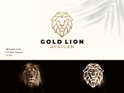 Gold Lion African Line Art logo Idea abstract forest wild luxury mark symbol vector lions art lines minimal king african animal lion branding inspirations awesome design logo