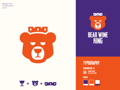 bear wine king logo design king double meaning icon vector mark combinations negative space crown wine bear animal branding illustration inspiration brand identity inspirations awesome design logo