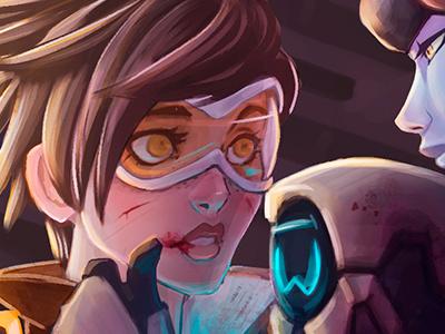 Overwatch: Tracer and Widowmaker illustration fanart overwatch