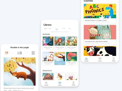 Kids books reading mobile app design