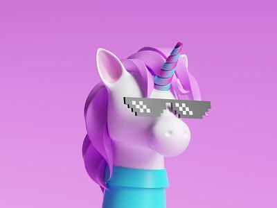 Unicorn 3D app illustration dribbble ux web ui cinema4d otoy octane render unicorn person character 3d c4d
