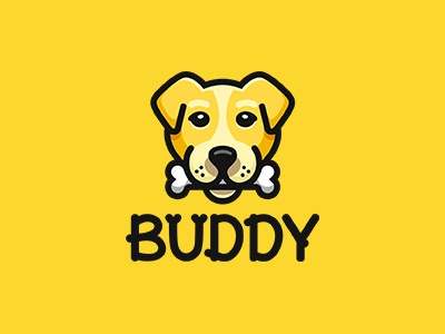 Buddy animal logo pet-store bone yellow buddy dog
