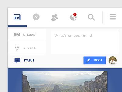 Facebook Redesign Light / Mobile mobile minimal gui light social ui facebook
