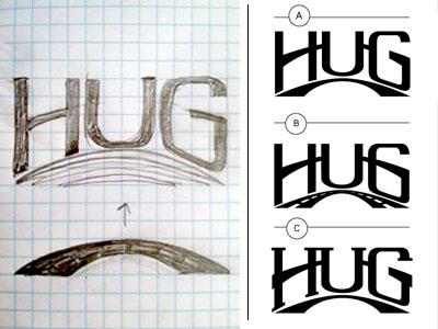 Hug Concept 1 logo identity branding hand-lettered type hand drawn type custom type